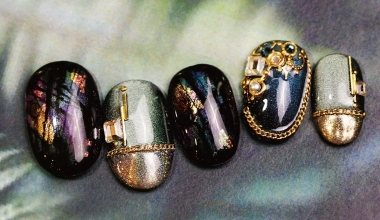 Labradorite 月光石 |專業美甲|沙龍應用|台灣老師|暈染液|Vicky|石紋|月光石|金箔|教學影片