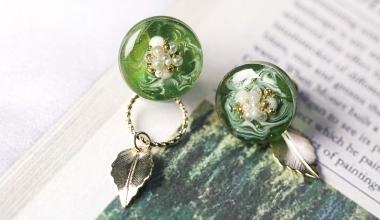 抹茶珍珠2way耳環 |DIY工藝|手作飾品|NLT教學部|滴膠應用|著色劑|珍珠|造型設計|PADICO|教學