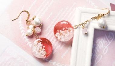 透明紅琉璃貝殼耳環 |DIY工藝|手作飾品|NLT教學部|滴膠應用|著色劑|珍珠|造型設計|PADICO|教學