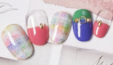 彩色毛料格紋 |專業美甲|沙龍應用|台灣老師|Vicky|教學