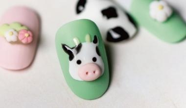 可愛乳牛 |專業美甲|沙龍應用|台灣老師|粉雕|Yumi|動物|乳牛|教學