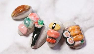 #壽司粉雕 |專業美甲|沙龍應用|台灣老師|粉雕|菲菲|食物|壽司|教學