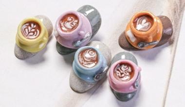 #咖啡粉雕 |專業美甲|沙龍應用|台灣老師|粉雕|菲菲|食物|拿鐵|拉花|教學