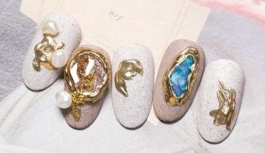 鑲金礦石  專業美甲 沙龍應用 台灣老師 異素材 Kaka 貝殼片 鏡面粉 教學