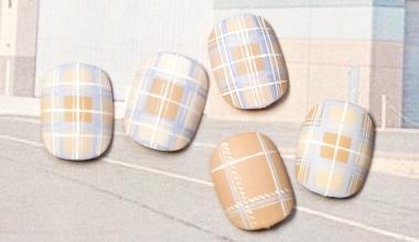 夏天的清爽格紋  專業美甲 沙龍應用 台灣老師 格紋 Kaka 奶油膠 對稱 教學