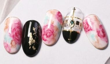 復古宮廷玫瑰 |專業美甲|沙龍應用|台灣老師|暈染液|Nicole|花|玫瑰|教學