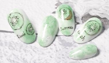 甜甜果風(奇異果)  專業美甲 沙龍應用 台灣老師 沙龍彩繪設計 菲菲 水果 奇異果 教學