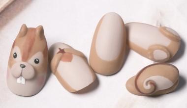 動物趴體(松鼠)  專業美甲 沙龍應用 台灣老師 粉雕 菲菲 動物 松鼠 教學